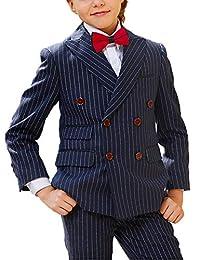 JYDress Boy's Stripe 2 Piece Peaked Lapel Blazer Double Breasted Suit