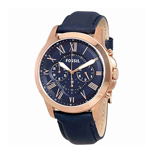 Fossil Men's Grant Quartz Stainless Steel and Leather Chronograph Watch, Color: Rose Gold-Tone, Blue (Model: FS4835)