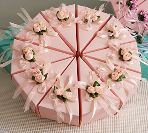 Skyseen 20PCS DIY Party Favor Candy Cake Boxes for Wedding, Engagement, Bridal Shower, Baby Shower or Any Party Decorations, Pink