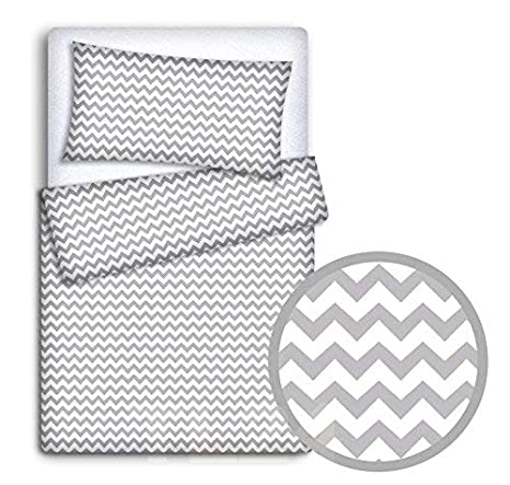 bestehend aus 2/teilig Bettbezug und Kissenbezug f/ür Kinderbett gro/ße Sterne grau auf Hintergrund wei/ß babyman Bettw/äsche-Set f/ür Kinder Motiv