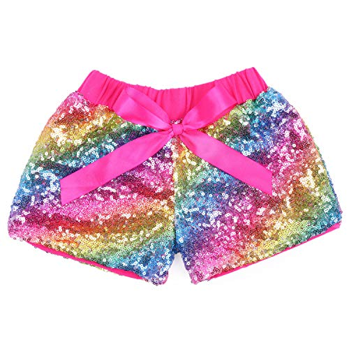 Cilucu Baby Girls Shorts Toddler Sequin Shorts Sparkles on Both Sides Hot Pink Rainbow 12 Months