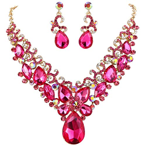 (BriLove Costume Fashion Necklace Earrings Jewelry Set for Women Crystal Teardrop Marquise Butterfly Filigree Enamel Statement Necklace Dangle Earrings Set Fuchsia Gold-Toned)