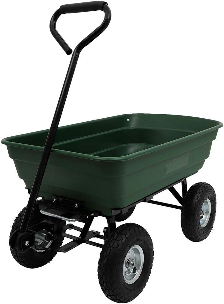 GYZJ 600 LBS Garden Dump Yard Cart Lawn Tractor with Wagon Pneumatic Tire Steel Frame