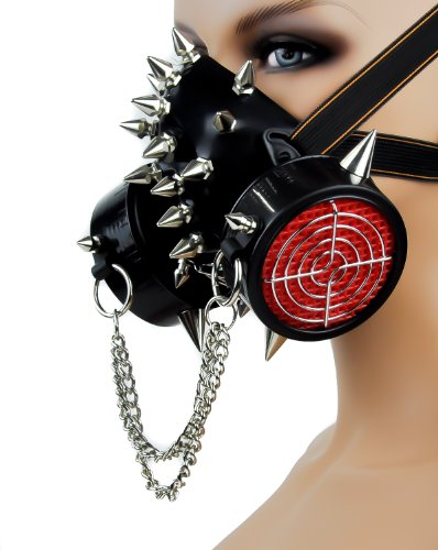 [Road Warrior Punk Mask Black Metal Chain Cosplay Halloween Costume] (Lab Halloween Costume Ideas)