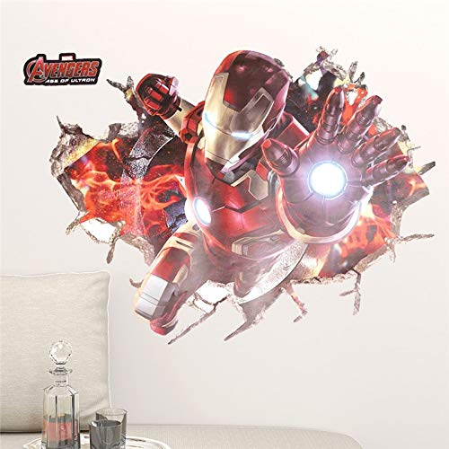 (Cartoon Iron Avengers Captain Spiderman Movie Hero Home Decal Kids Room Height Measure Growth Chart Wall Stickers)