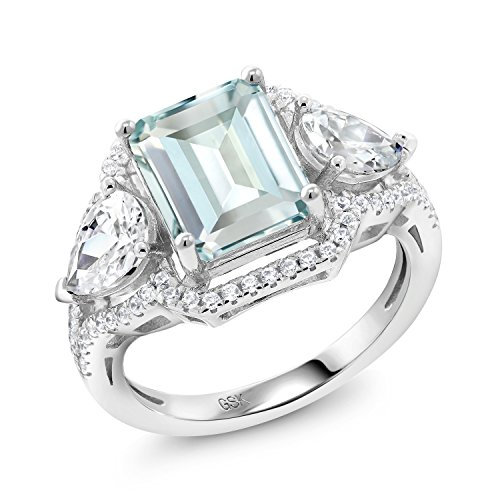 Gem Stone King Sky Blue Simulated Aquamarine 925 Sterling Silver Women's Ring (3.89 Ct Octagon Cut) (Size 8) (March Birthstone Promise Ring)