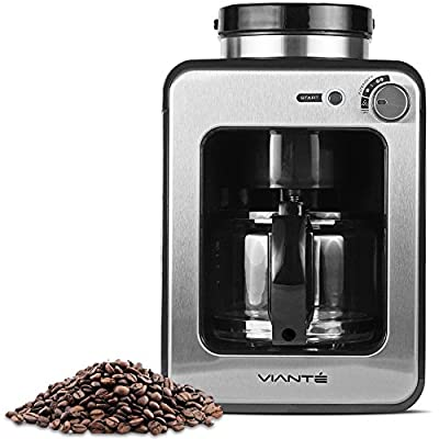 Viante CAF-50 Grind and Brew Coffee Maker with built in Coffee Grinder. Bean to Cup Machine Uses Whole Coffee Beans or Ground Coffee. 4 Cups Glass Carafe, Coffee Strength Selector. Compact Size from Vianté