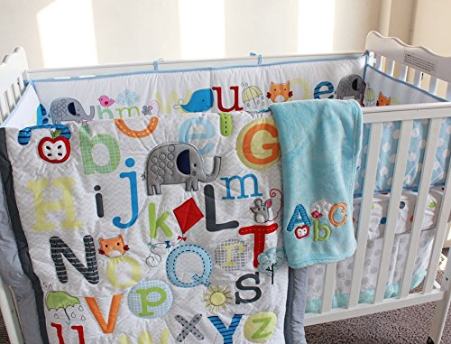 NAUGHTYBOSS Unisex Baby Bedding Set Cotton Early Education 3D Embroidery Letter Elephant Quilt Bumper Mattress Cover Blanket 8 Pieces Multicolor by NAUGHTYBOSS (Image #9)