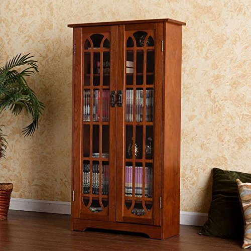 MS1074T SEI Mission Oak Finish Window-Pane Double-Door Media Cabinet(Holds Approx. 330 Cds Or 92 Vhs Or 166 Dvd)
