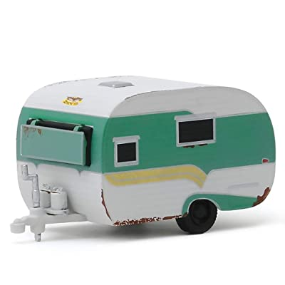 1959 Catolac DeVille Travel Trailer Green and White (Unrestored) Hitched Homes Series 7 1/64 Diecast Model by Greenlight 34070 A: Toys & Games