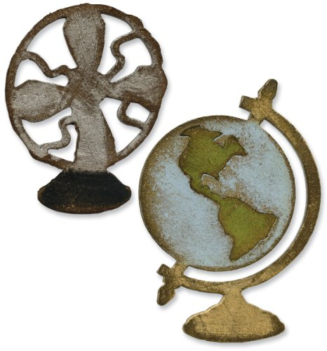 Sizzix 657838 Movers & Shapers Magnetic Die Set, Vintage Fan & Globe Set by Tim Holtz, 2-Pack, Multicolor