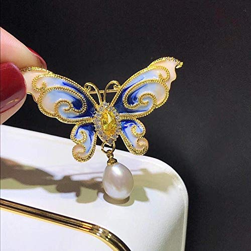 Mink Monk Zircon Pearl Butterfly Brooch Pins for Suits Dress Banquet Sweater Wedding Party Brooches Jewelry for Man Women