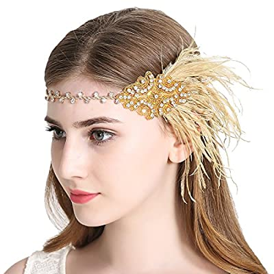 Sparkling Flapper Headband 1920s Art Deco Gatsby Feather Headpiece for Women