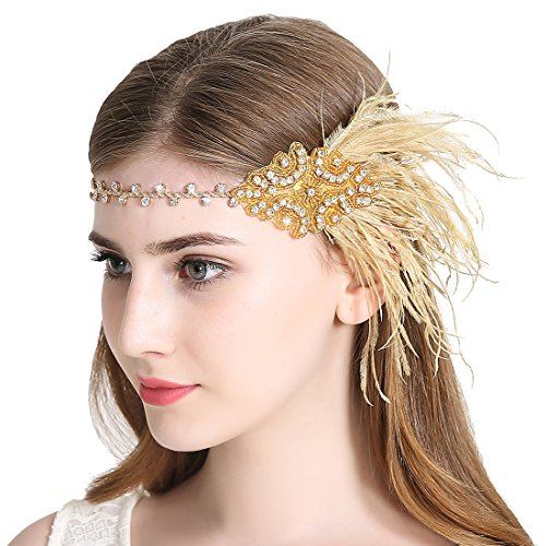 Vintage Flapper Headband 1920s Art Deco Gatsby Feather Headpiece for Women Plume Hair Accessories Gold]()