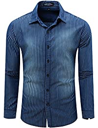 Men's Casual Long Sleeve Brushed Striped Chambray Button Down Shirts Dark Blue