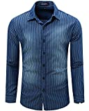JoJoJoy Men's Casual Long Sleeve Brushed Striped Chambray Button Down Shirts Dark Blue