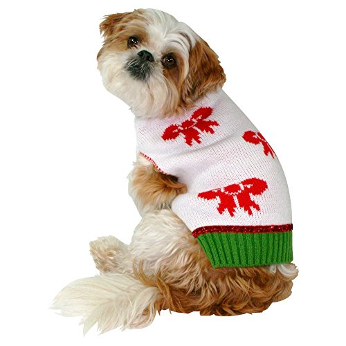 Pet Ugly Holiday Sweater Winter White With Bows (X-Small) -