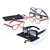 JOY MANGANO 10 PC Shades Readers with LEATHER arms AND SUNGLASSES +2.0, model # 506543