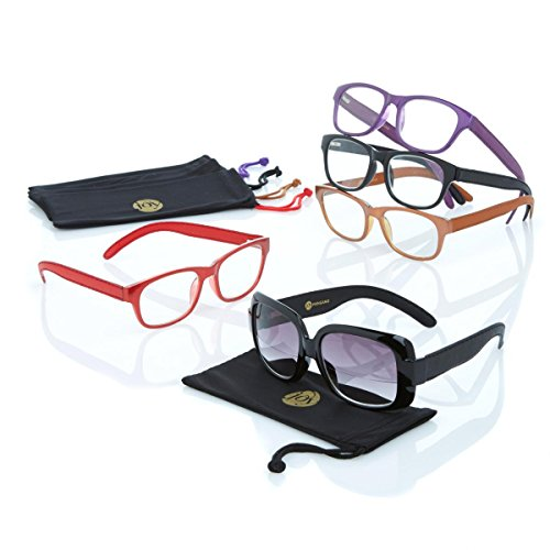 JOY MANGANO 10 PC Shades Readers with LEATHER arms AND SUNGLASSES +2.0, model # 506543 ()