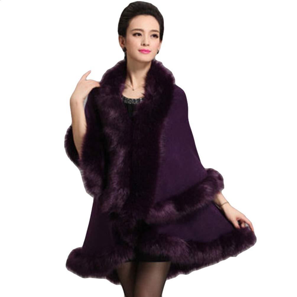 ZKOOO Scialle da Donna Faux Pelliccia Elegante Poncho Mantelli Invernale Caldo Mantella Stola Cape Crimonia Festa
