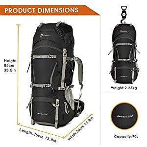 Mountaintop 70L+10L Outdoor Sport Water-resistant Internal Frame Backpack Hiking Backpack Backpacking Trekking Bag with Rain Cover for Climbing,camping,hiking,Travel and Mountaineering-5805II (Black)
