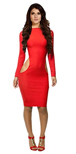 OUCHI Women Sexy Long Sleeve Hollow Hip Bandage Clubwear Party Cocktail Dress