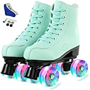 Gets Womens Roller Skates, Green Classic High-top Roller Skates, Four-Wheel Roller Skates for Adult, Boys, Gir