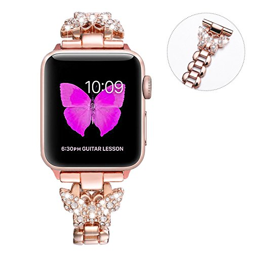 (Sangaimei Watch Band,Women Hand Chain Jewelry Metal Stainless Steel Band,Adjustable Bracelet Rhinestone Compatible Apple Watch 38MM series3/2/1 (Rose Gold,Color Butterfly 38mm White Diamond))