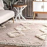 nuLOOM SPMO01B Handwoven Savannah Moroccan Shaggy Wool Rug, 3' x 5', Beige