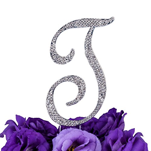 LOVENJOY Gift Box Pack Personalized Letter T Crystal Rhinestone Wedding Anniversary Birthday Bridal Shower Metal Cake Decoration Topper Silver (3.5-inch)