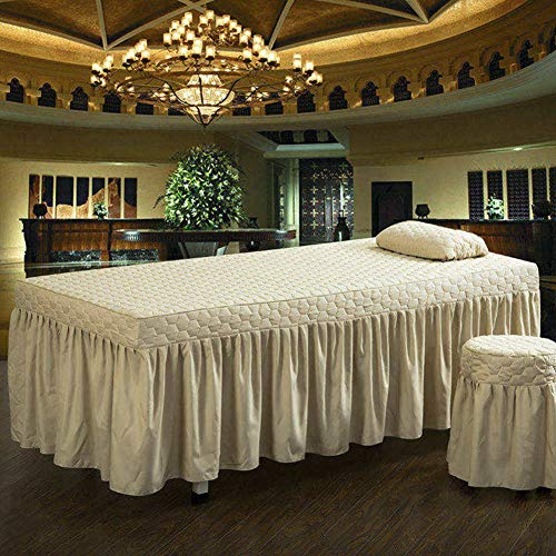 (YXLJYH European Style Solid Color Beauty Bed Cover Massage Table Sheet Sets Single Bed Skirt Sheet Physiotherapy Bedspreads Therapy Bed Universal with Hole -J 80x190cm(31x75inch))