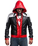 Batman Arkham Knight Hooded Jason Todd Men White Vest and Red Real Leather Jacket | All Sizes (XXX-Large)
