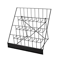 """FixtureDisplays 4-Tiered Greeting Card Rack, 18"""" Wire Greeting Card Holder for Tabletop Use, 2.5"""" Open Shelves, with Header - Black 119362-Greeting Card"""