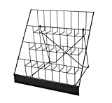 FixtureDisplays 4-Tiered 18'' Wire Rack for Tabletop Use, 2.5'' Open Shelves, with Header - Black 119362