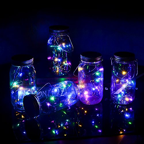 Yzan 5-Pack Solar Mason Jar Lights-10 Bulbs Multicolor Hanging Fairy Firefly Lights Fit for Regular Mouth Jars with 5 Handles and 10 PVC Cards for Christmas Decor Table (Jars Not -