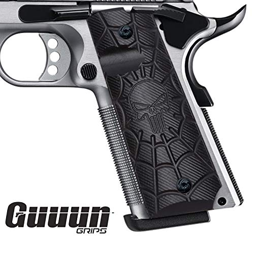 Guuun 1911 Grips Full Size Commander Government Pistol Grips, Custom Cobweb Skull Texture G10 Material Ambi Safety Cut Gun Grip