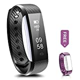 Fitness Tracker - Ronten R2 Smart Bluetooth Wristband Pedometer Smart Bracelet Sleep Monitor - Waterproof Activity Tracker Watch with Replacement Band for Android & IOS (Black+Purple(band))