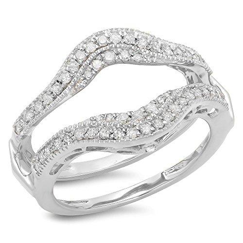 0.52 Carat (ctw) 14K White Gold White Diamond Ladies Wedding Enhancer Guard Ring 1/2 CT (Size 8.5) by DazzlingRock Collection