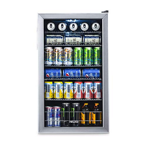 NewAir Beverage Cooler and Refrigerator, Mini Fridge with Glass Door, Perfect for Soda Beer or Wine, 126-Can Capacity, - 7 Led Days Open