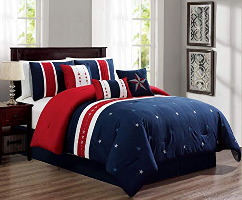 (Empire Home 7 Piece USA Patriot Comforter Set - White Red Blue (Queen Size))