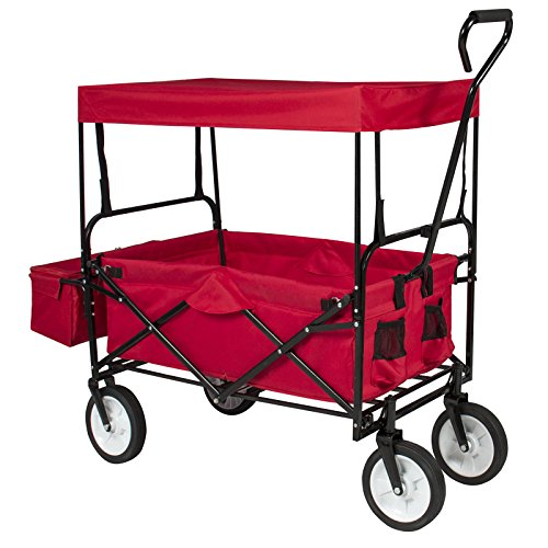 Wheelbarrows, Carts & Wagons NEW Folding Wagon W/Canopy Garden Utility Travel Collapsible Cart Outdoor Yard Home durable steel