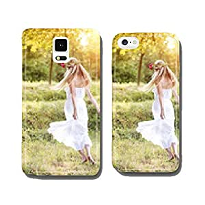 Beautiful woman with flower wreath. cell phone cover case Samsung S5