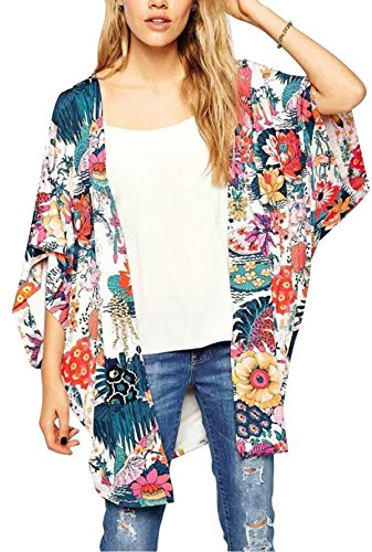 Hibluco Women's Sheer Chiffon Floral Kimono Cardigan Long Blouse Loose Tops Outwear (X-Large, K 4) - Pattern Chiffon Blouse