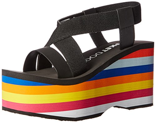 Rocket Dog Women's Bayer Webbing/Smooth PU W/Rainbow EVA Wedge Sandal, Black, 8 M US (Sandals Rocket Dog)