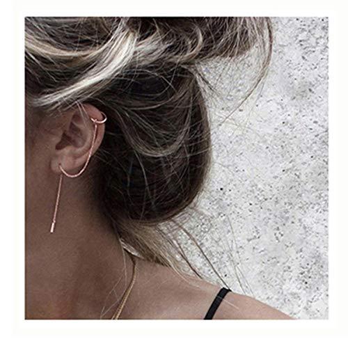 SLUYNZ 925 Sterling Silver Cuff Chain Earrings Wrap Tassel Earrings for Women Crawler Earrings (Rose Gold)