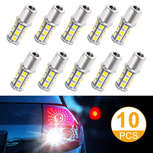 SUNNEST Super Bright 1156 1141/1003/1073/BA15S/7506 LED Replacement Light Bulbs 18 SMD 5050 LED Bulb for RV Camper SUV MPV Car Turn Tail Signal Brake Backup Light, DC 12V (10 Pcs)