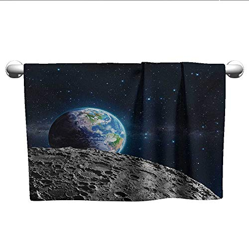 (alisoso Galaxy,Gym Towel View of Earth from Moon Surface Lunar Satellite Spacewatch Tracking Project Quick-Dry Towels Grey Dark Blue W 28