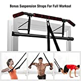 IRON AGE Pull Up Bar for Doorway - Angled Grip Home Gym Exercise Equipment - Pullupbar with Shortened Upper Bar and Bonus Suspension Straps