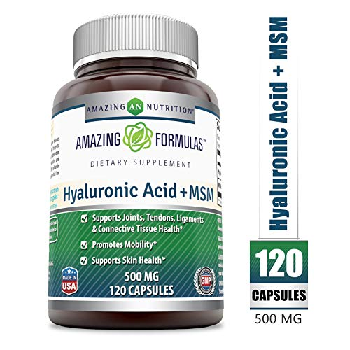 Amazing Nutrition Hyaluronic Acid & MSM Dietary Supplement - 500 Milligrams - 120 Capsules - Provides Joint, Tendon & Ligament Support - Promotes Flexibility - Skin Health Supplements*