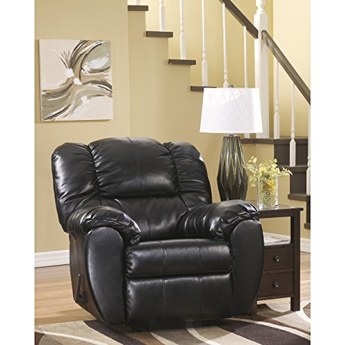 Black Contemporary Rocker Recliner (Flash Furniture Signature Design by Ashley Dylan DuraBlend Rocker Recliner in Onyx DuraBlend)